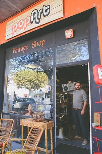 Boutique de vintage dans le centre ville