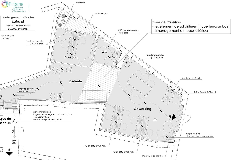 Plan espace de coworking à Montélimar