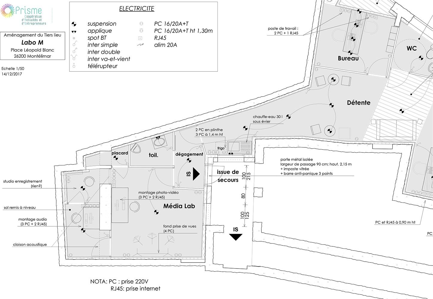 Plan du Média Lab à Montélimar