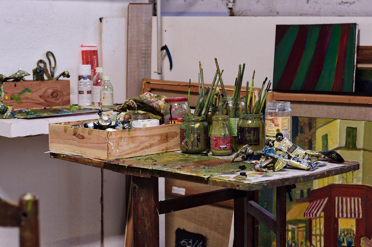 Détail de l'atelier du peinture Ganne Rullier à Montélimar