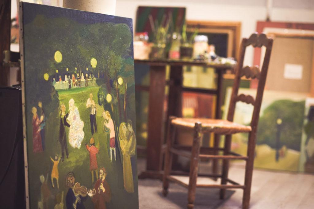 travail en cours dans l'atelier du peintre Ganne Rullier à Montélimar