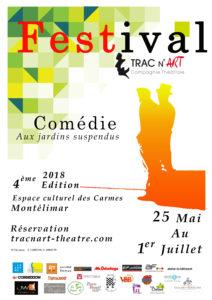 Affiche de la quatrième édition du festival comédie aux jardins suspendus